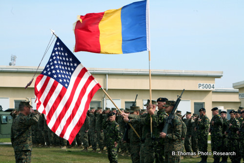 Romanian and American Flags