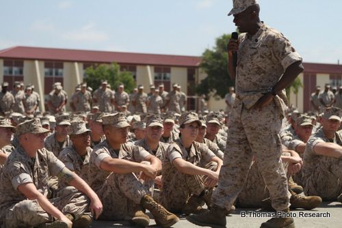 Sgt. Major Speaks to 2000 Marines at Camp Del Mar