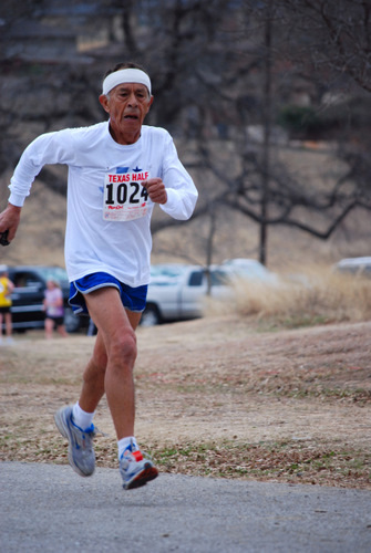Senior Citizen Competing in a 5k Run