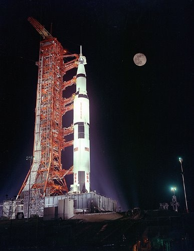 Apollo 17 Photo - Rocket on Launch Pad at Night