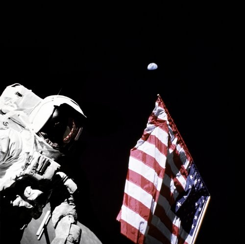 Apollo 17 Photo - Astronaut Harrison Schmitt and American Flag