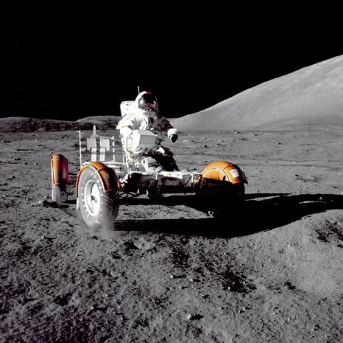 Apollo 17 Photo - Eugene A. Cernan on Lunar Rover