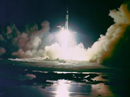 Apollo 17 Photo - Night Launch