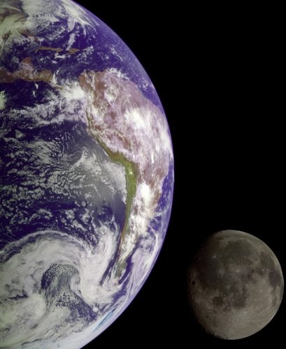 Earth and Moon from Galileo Spacecraft