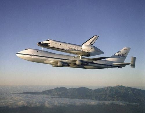 Space Shuttle Atlantis Atop the Shuttle Carrier Aircraft - B ...