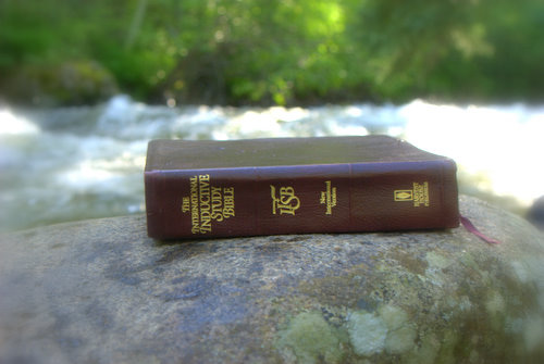 Bible on a Boulder in St. Vrain River