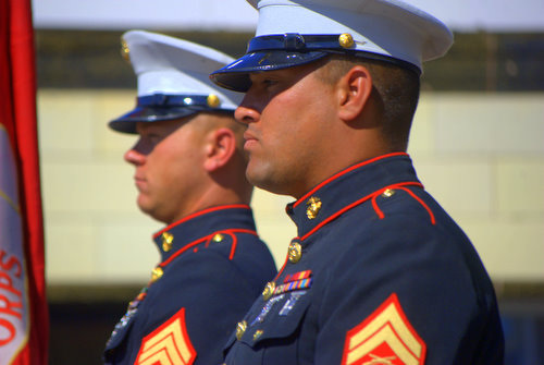 Profile of a Marine in a Parade