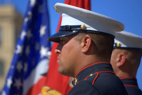 Marines Color Guard Stock Photo