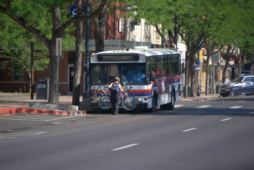 Woman, Bicycle and Bus