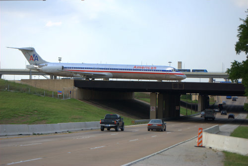 American Airlines Jet on Bridge