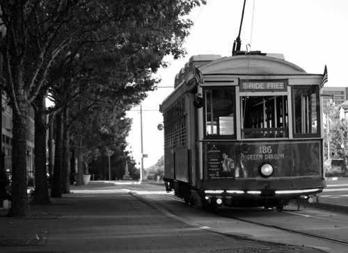 Trolley in Uptown Area of Dallas, Texas