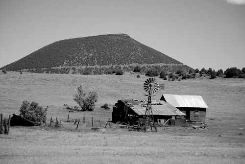 Old Homestead in Front of Mt. Capulin Volcano