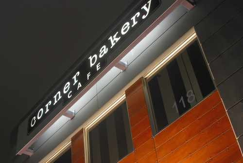 Close up of Corner Bakery Sign