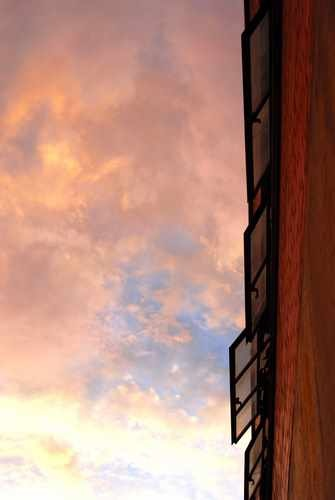 Clouds and Open Warehouse Window