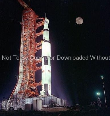 Apollo 17 Photo – Rocket on Launch Pad at Night GPN-2000-000636