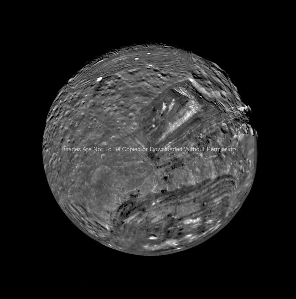 Miranda as Seen by Voyager 2 (moon of Uranus)