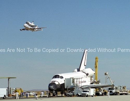 Endeavour on Runway with Columbia on SCA Overhead GPN-2000-000160