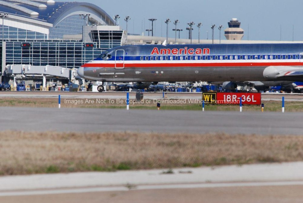 American Airlines Jet on Runway at DFW Airport