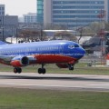 Southwest Airlines Jet Airplane Just Before Touchdown