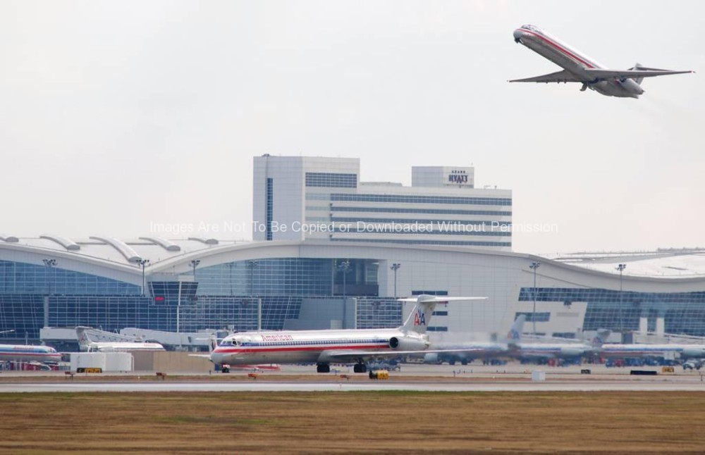 American Airlines Jets at International terminal at DFW Airport