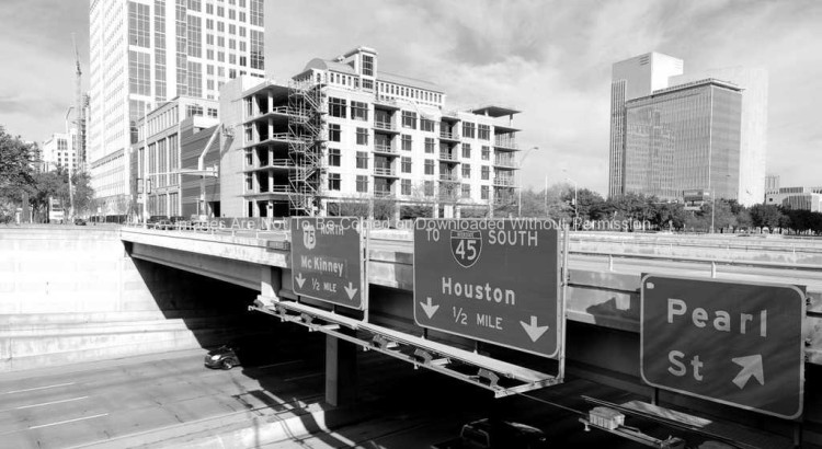 Downtown Dallas Highway Signs and Traffic